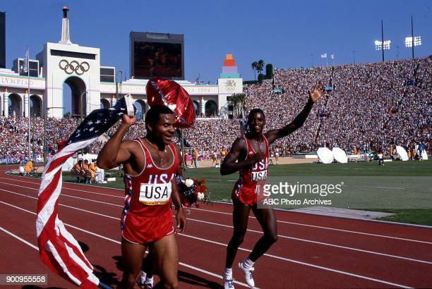 Carl Lewis Men's Track 4 × 100 metres relay competition US team Memorial Coliseum at the 1984 Summer Olympics August 10 1984