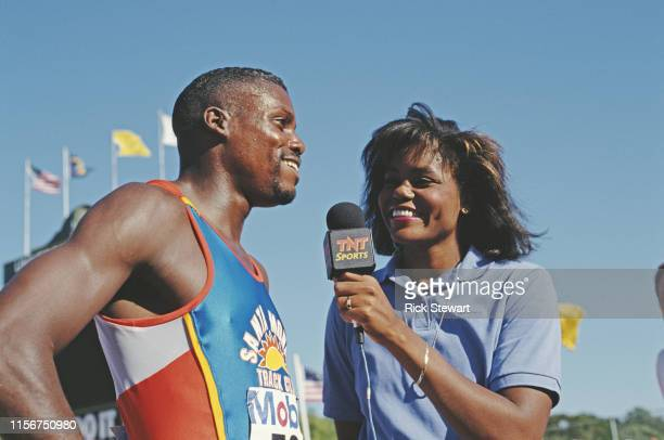 Carl Lewis of the Santa Monica Track Club and the United States is interviewed by his sister Carol for TNT Sports Network during the TAL CPS World...