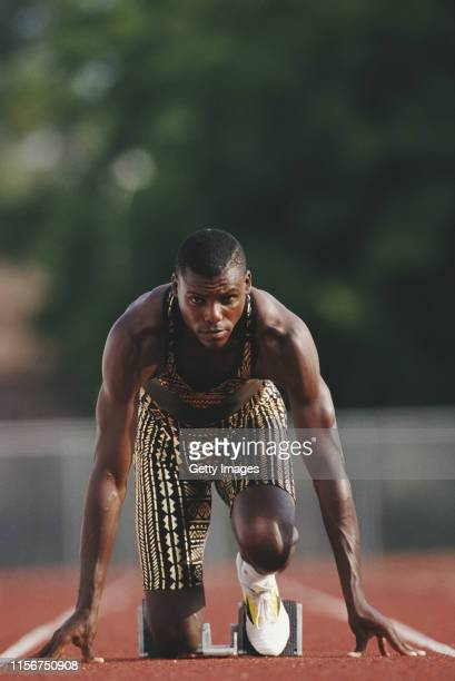 Carl Lewis of the Santa Monica Track Club during a training session circa 1993 at the Santa Monica Track Club at Los Angeles in California,