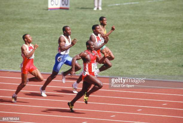 Carl Lewis of the United States and Ben Johnson of Canada competes in the Games of the XXIV Olympiad at the 1988 Summer Olympics circa 1988 in Seoul...