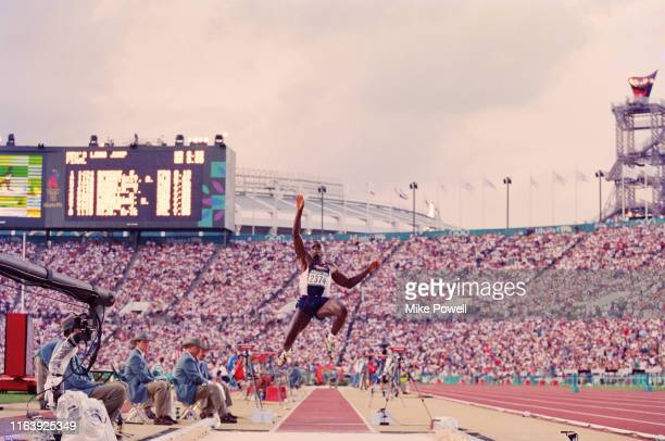 Carl Lewis of the United States competing in Men's Long Jump competition on 29th July 1996 at the XXVI Summer Olympic Games at the Alexander Memorial...