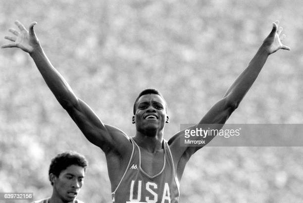 Carl Lewis of the United States of America wins gold in the Mens 200 meters Final at the 1984 Olympic Games held in Los Angeles 8th August 1984