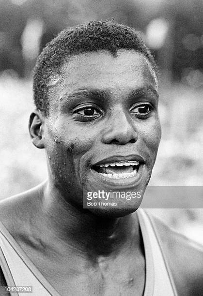 Carl Lewis of the USA at the Ivo Van Damme Memorial Athletics meet held at the Heysel Stadium in Brussels on 19th August 1988.