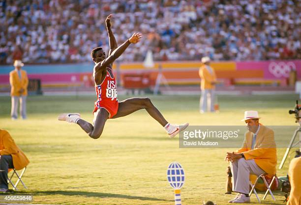 Carl Lewis of the USA competes in the final of the Men's Long Jump event of the Track and Field competition of the 1984 Olympic Games held on August...