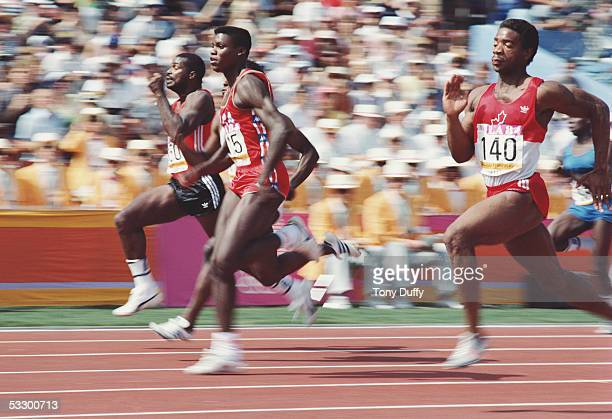 Carl Lewis of the USA in action during a round of the 100 metres during the 1984 Olympic Games at the Colliseum Stadium on August 4 1984 in Los...