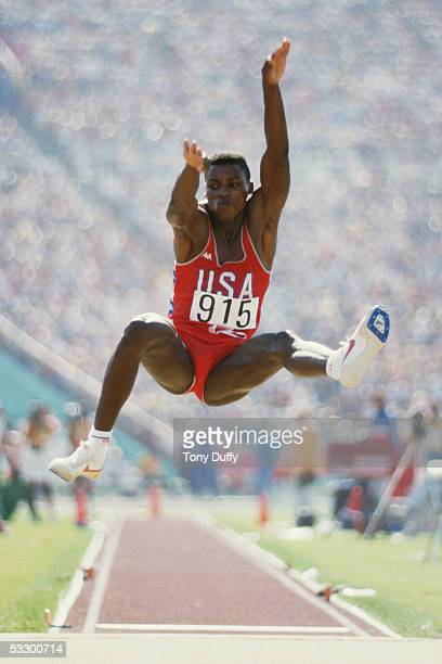 Carl Lewis of the USA in action in the Long Jump final during the 1984 Olympic Games Lewis won the gold medal with a jump of 8 54 metres at the...