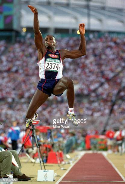 Carl Lewis of the USA makes the winning Long Jump 850ft during the 1996 Olympic Games at the Olympic Stadium July 29 1996 in Atlanta Georgia