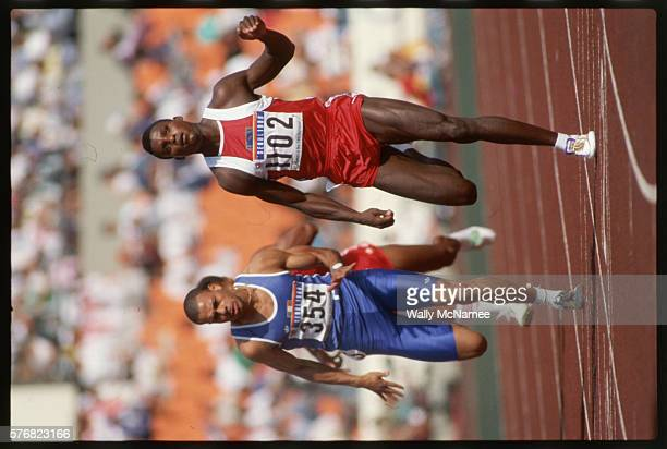 Carl Lewis slows down after competing in one of the track events during the Seoul Olympics where he won the gold in the 100meter and silver in the...