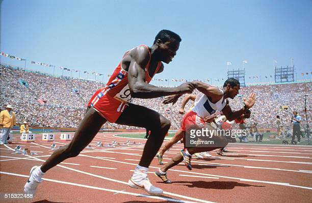 Carl Lewis wins 100m gold in 99 seconds following Louis is Ray Stewart