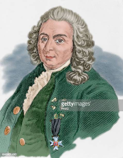 Carl Linnaeus . Swedish physician and botanist. Portrait. Engraving, Colored.
