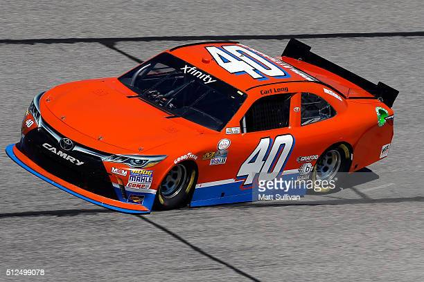 Carl Long driver of the Toyota practices for the NASCAR XFINITY Series Heads Up Georgia 250 at Atlanta Motor Speedway on February 26 2016 in Hampton...