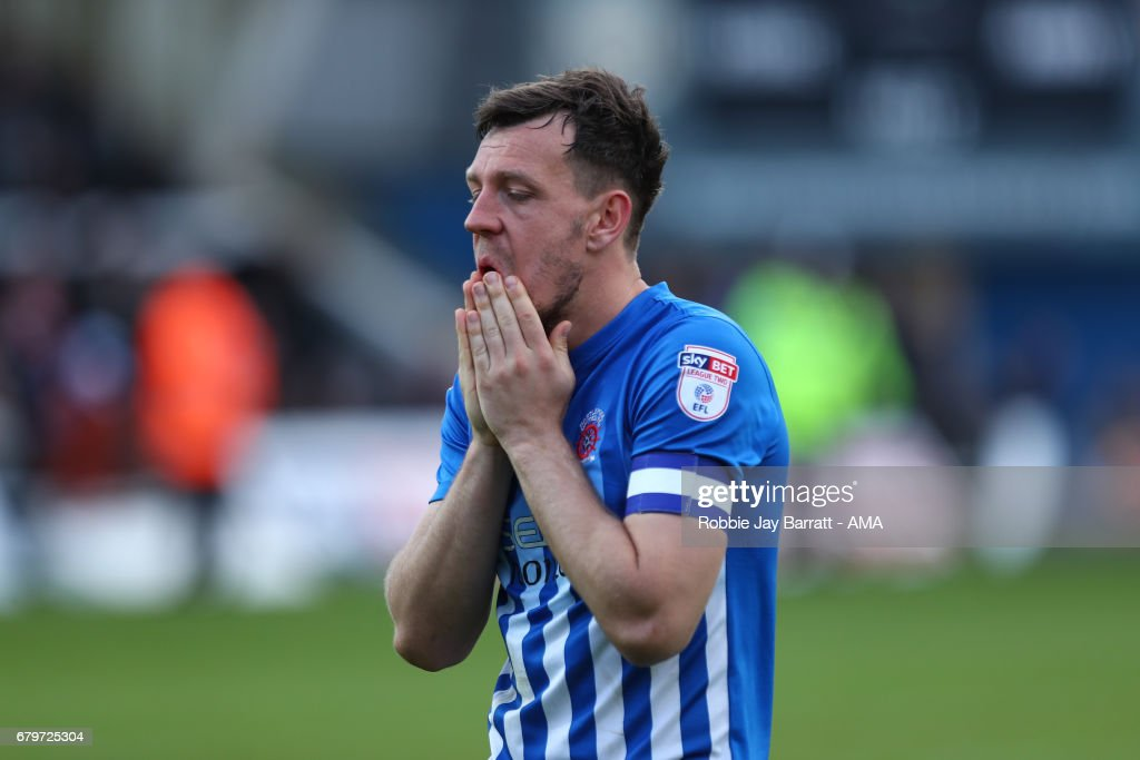 Carl Magnay of Hartlepool United reacts at full time during the Sky Bet League Two match between Hartlepool United and Doncaster Rovers at Victoria Park on May 6, 2017 in Hartlepool, England.