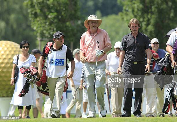 Carl Mason of England celebrates his hole in one on the 3rd hole with playing partner George Ryall of England during the final round of the Bad Ragaz...