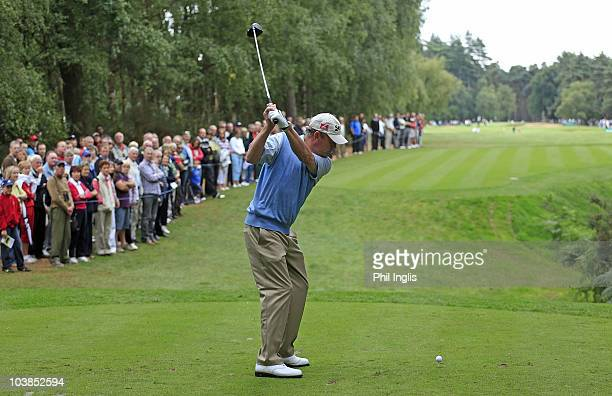 Carl Mason of England plays from the 1st tee during the final round of the Travis Perkins plc Senior Masters played on the Duke's Course Woburn Golf...