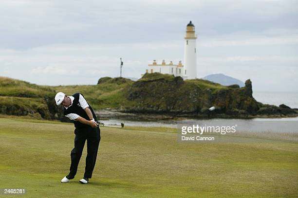 Carl Mason of England plays his second to the 10th during the third round of the Senior British Open presented by Mastercard held on July 26 2003 on...