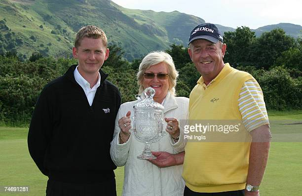 Carl Mason of England with his wife Beryl and son Andrew after the final round of the Ryder Cup Wales Seniors Open at Conwy Golf Club on June 17 2007...