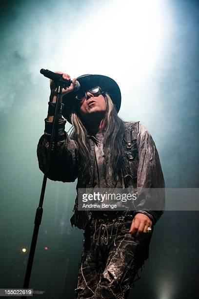 Carl McCoy of Fields Of The Nephilim performs on stage at O2 Academy on October 30 2012 in Leeds United Kingdom