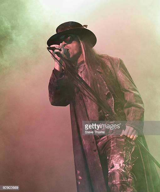 Carl McCoy of Fields Of The Nephilim performs on stage on the second day of live music at Hellfire Festival at NEC Arena on November 8 2009 in...