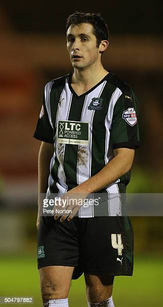 Carl McHugh of Plymouth Argyle in action during the Sky Bet League Two match between Plymouth Argyle and Northampton Town at Home Park on January 12...