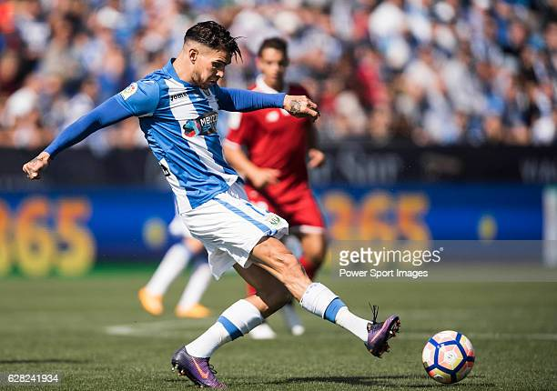 Carl Medjani of Deportivo Leganes in action during their La Liga match between Deportivo Leganes and Sevilla FC at the Butarque Municipal Stadium on...
