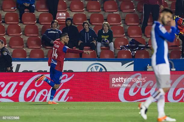 Carl Medjani of Levante UD celebrates during La Liga match between Levante UD and RCD Espanyol at Ciutat de Valencia Stadium La Liga match between...