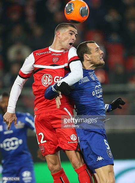 Carl Medjani of Valenciennes and Sebastien Squillaci of Bastia in action during the french Ligue 1 match between Valenciennes FC and SC Bastia at the...