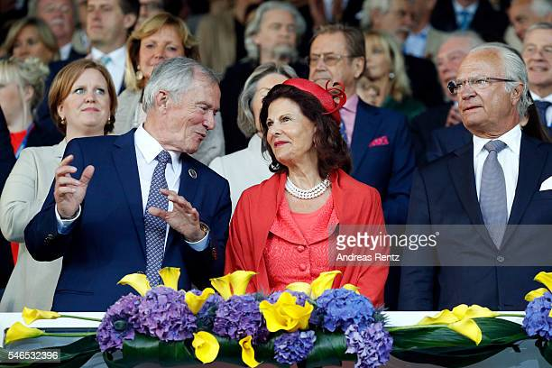 Carl Meulenbergh Queen Silvia of Sweden and King Carl XVI Gustaf of Sweden watch the opening ceremony of the CHIO 2016 on July 12 2016 in Aachen...