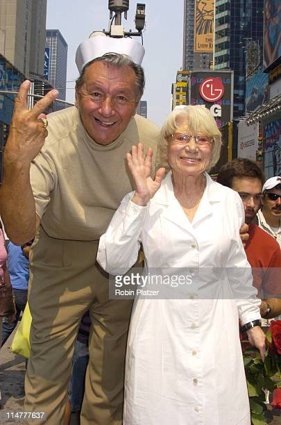 Carl Muscarello and Edith Shain during The 60th Anniversary of the End of World War II at Times Square in New York City New York United States