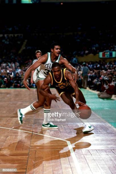 Carl Nicks of the Utah Jazz drives the ball up court against the Boston Celtics during a game played in 1981 at the Boston Garden in Boston...