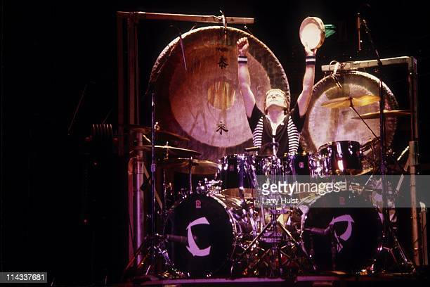 Carl Palmer performs with 'ELP' aka Emerson, Lake and Palmer at Civic Center in San Francisco, California on February 17, 1974.