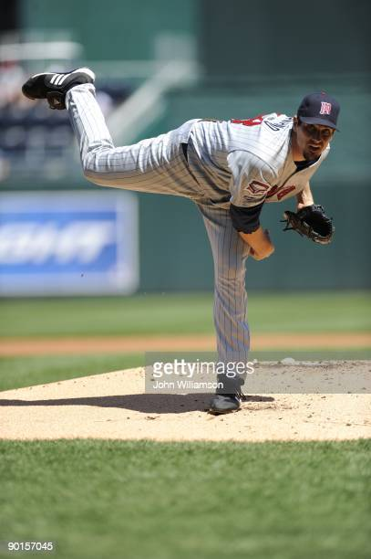 Carl Pavano of the Minnesota Twins pitches during the game against the Kansas City Royals at Kauffman Stadium in Kansas City, Missouri on Sunday,...