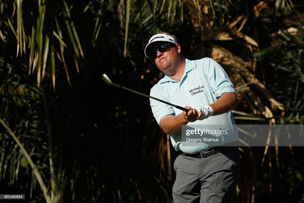 Carl Pettersson of Sweden plays his shot from the eighth tee during the second round of the OHL Classic at Mayakoba on November 11, 2016 in Playa del Carmen, Mexico.