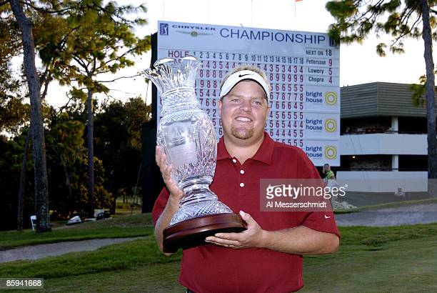 Carl Pettersson poses with the winner's trophy after the final round of the 2005 Chrysler Championship at the Westin Innsbrook Resort Copperhead...