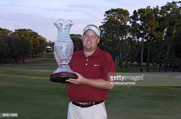 Carl Pettersson poses with the winner's trophy after the final round of the 2005 Chrysler Championship October 30 in Palm Harbor