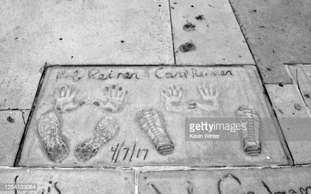 Carl Reiner and Rob Reiner's hand and footprints are on display in the courtyard of TCL's Grauman's Chinese Theatre on July 03 2020 in Hollywood...