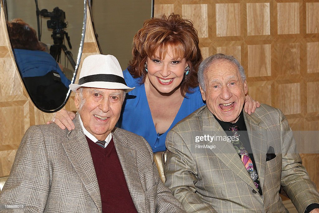 Carl Reiner, Joy Behar and Mel Brooks on set for Current TV at The London Hotel on January 2, 2013 in West Hollywood, California.