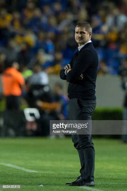 Carl Robinson coach of Vancouver Whitecaps looks on during the semifinals first leg match between Tigres UANL and Vancouver Whitecaps as part of the...