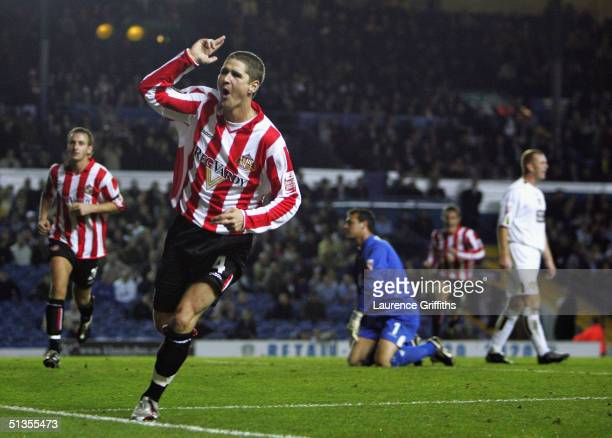 Carl Robinson of Sunderland celebrates his goal during the CocaCola Championship match between Leeds United and Sunderland at Elland Road on...