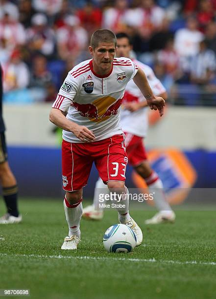 Carl Robinson of the New York Red Bulls controls the ball against the Philadelphia Union on April 24 2010 at Red Bull Arena in Harrison New Jersey...