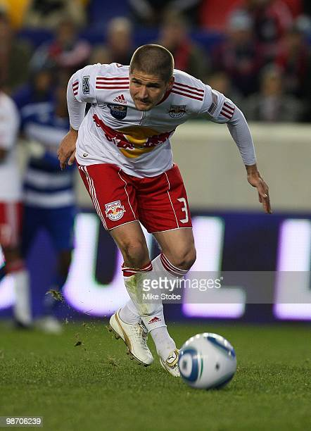 Carl Robinson of the New York Red Bulls plays the ball against the FC Dallas on April 17 2010 at Red Bull Arena in Harrison New Jersey The Red Bulls...