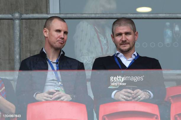 Carl Robinson the new coach of the Newcastle Jets and assistant coach Kenny Miller during the round 18 ALeague match between the Newcastle Jets and...