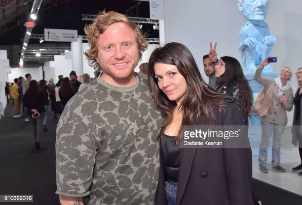 Carl Smith of CES Gallery and Jennifer Kennedy at OPENING NIGHT   ART LOS ANGELES CONTEMPORARY 9TH EDITION at Barkar Hangar on January 25 2018 in...