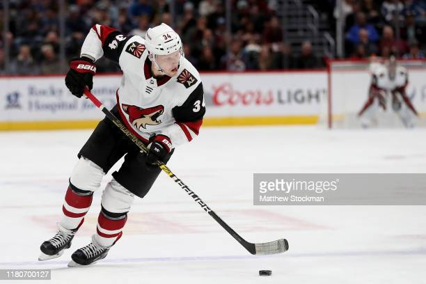 Carl Soderberg of the Arizona Coyotes advances the puck against the Colorado Avalanche in the first period at the Pepsi Center on October 12 2019 in...