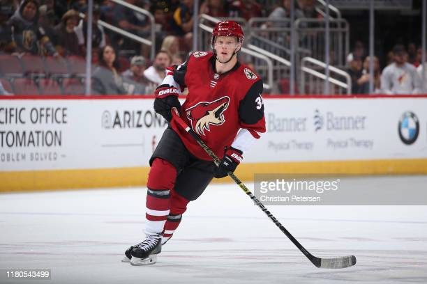 Carl Soderberg of the Arizona Coyotes in action during the NHL game against the Vegas Golden Knights at Gila River Arena on October 10 2019 in...