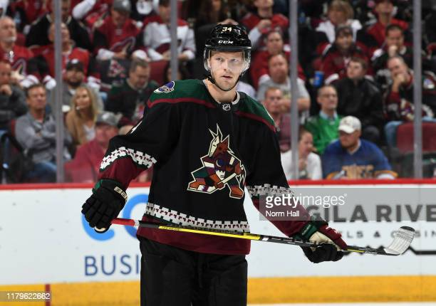 Carl Soderberg of the Arizona Coyotes looks up ice during a stop in play against the Boston Bruins at Gila River Arena on October 05 2019 in Glendale...
