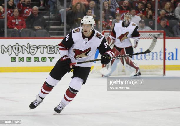 Carl Soderberg of the Arizona Coyotes skates against the New Jersey Devils at the Prudential Center on October 25 2019 in Newark New Jersey The...