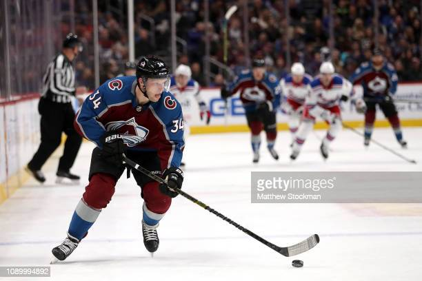 Carl Soderberg of the Colorado Avalanche advances the puck against the New York Rangers at the Pepsi Center on January 04 2019 in Denver Colorado