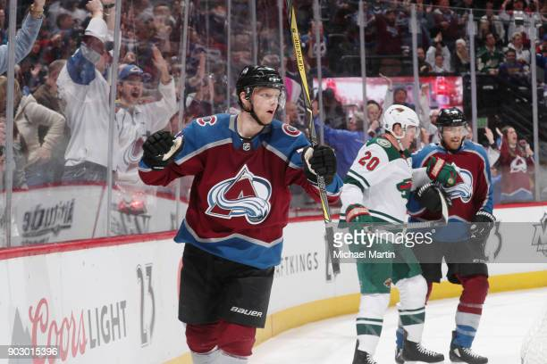 Carl Soderberg of the Colorado Avalanche celebrates a goal against the Minnesota Wild at the Pepsi Center on January 6 2018 in Denver Colorado The...