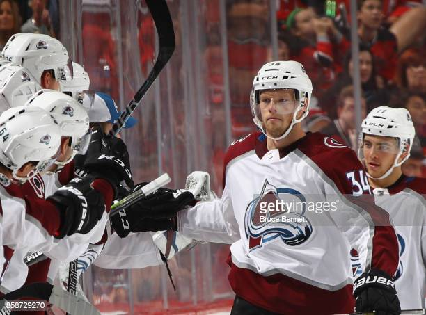 Carl Soderberg of the Colorado Avalanche celebrates his second period goal against the New Jersey Devils at the Prudential Center on October 7 2017...