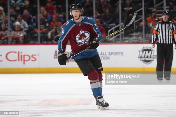 Carl Soderberg of the Colorado Avalanche skates against the Anaheim Ducks at the Pepsi Center on January 15 2018 in Denver Colorado The Avalanche...